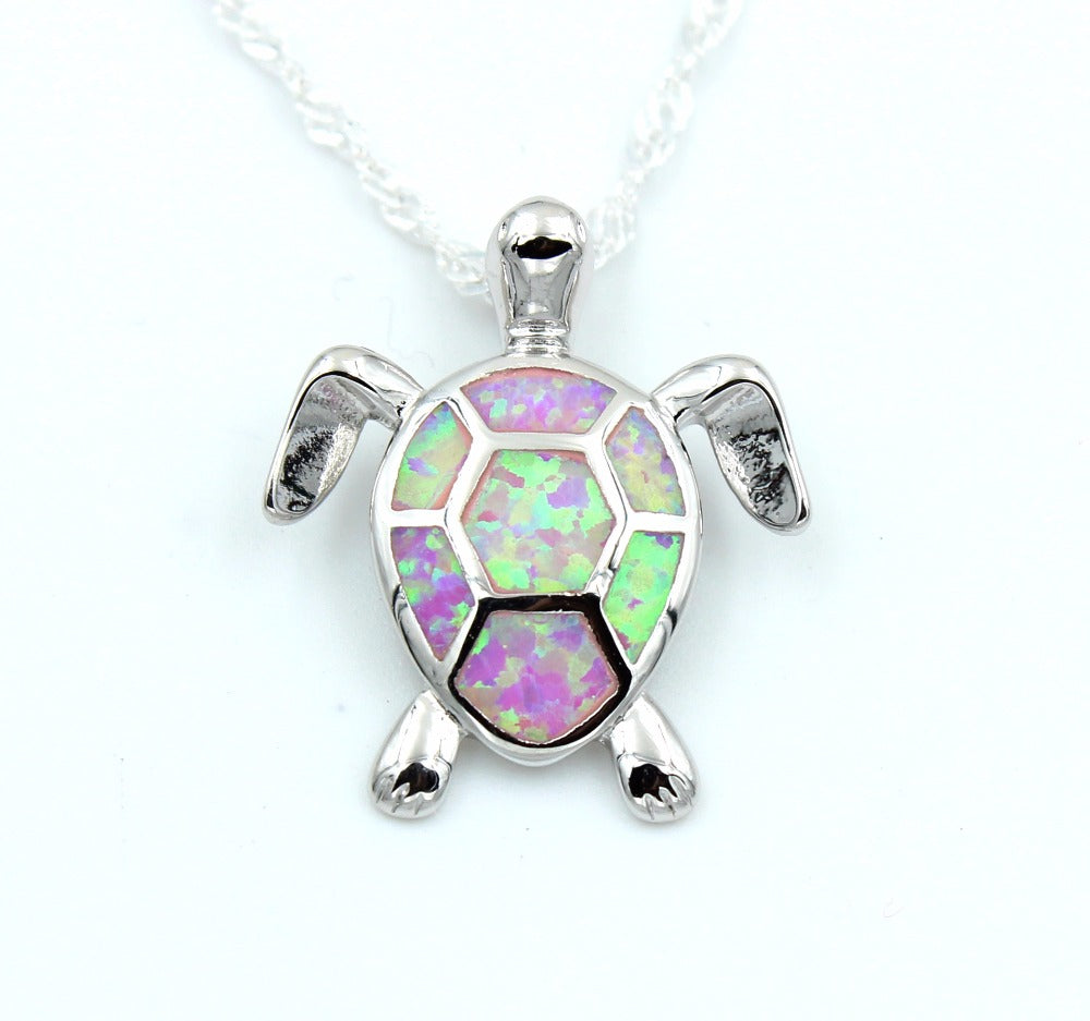 Sea Turtle in blue fire opal pendant necklace