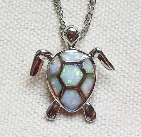 Image of Sea Turtle in blue fire opal pendant necklace