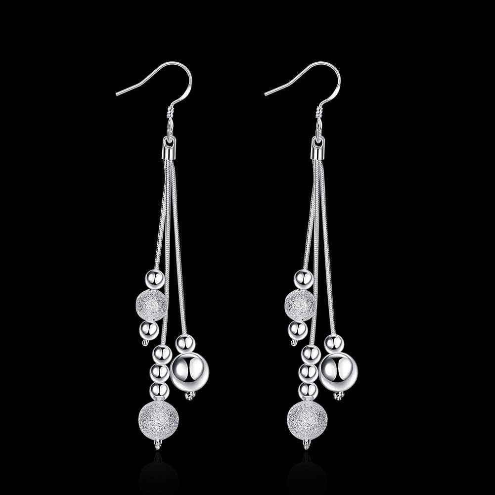 Silver plated Drop Beaded Earrings