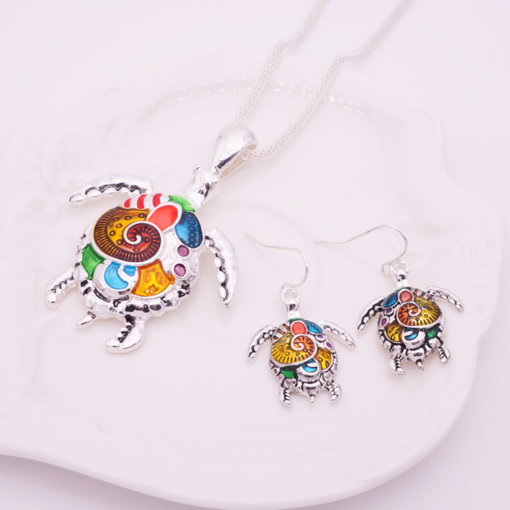 Enamel Sea Turtle Necklace & Earring Set Vintage  Ethnic Inspired Jewelry