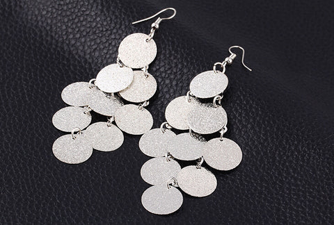 Image of Chandelier frosted Wafer Drop Tassel Earrings