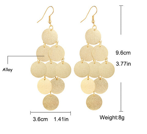 Chandelier frosted Wafer Drop Tassel Earrings