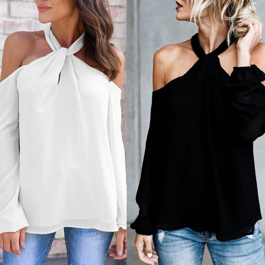 Long Sleeve Twisted Halter T Shirt  Low Cut Sexy Off Shoulder shirt