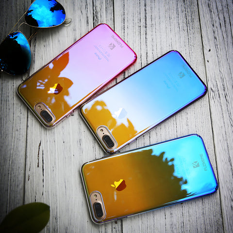 Image of For iPhone 6 6S Plus Case 5 5S SE Gradient Blue-Ray Light Case For Apple iPhone 7 7 Plus 5S 5 SE Clear Accessories Cover