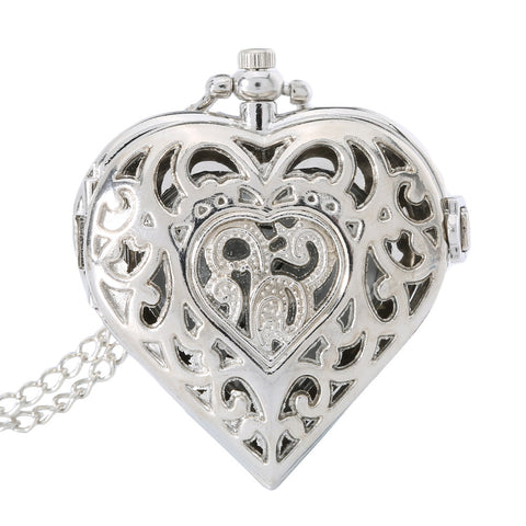 Image of Fashion Silver Hollow Quartz Heart Shaped Pocket Watch Necklace Pendant Chain Clock Women Gift High Quality LXH