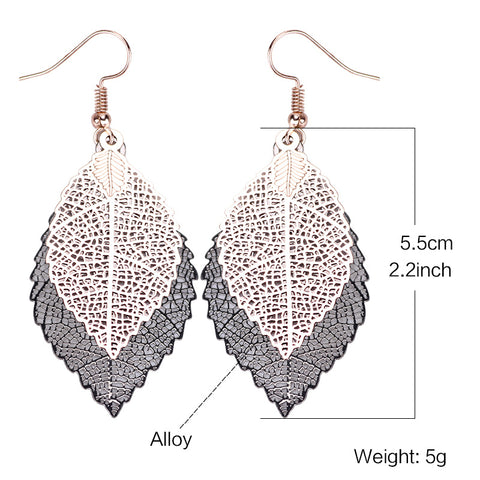 Image of Delicate Bohemian Dual Color Leaf Dangle Vintage Leaves long drop Earrings