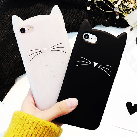 For Samsung Galaxy S6 S6 Edge S7 Edge S8 S8Plus Case Cute 3D Black beard Cat Ears Animal Cartoon Capa Soft Silicone Phone Cases kitty
