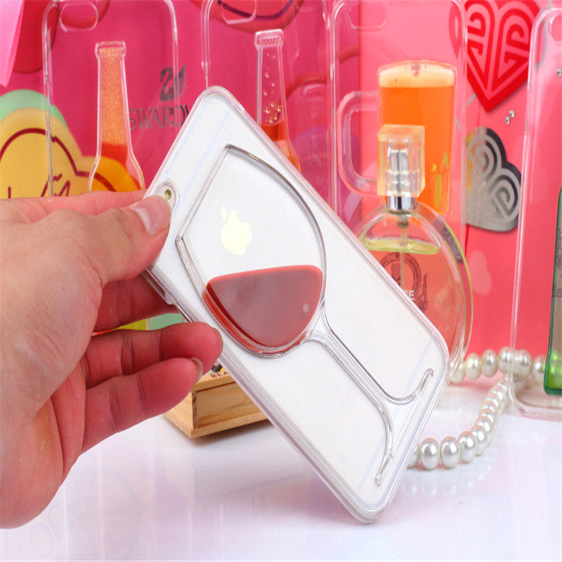 Red Wine Cup Liquid Transparent Case For Apple iPhone 7 7 plus 6 6S plus 5 5S 5C 4 4S Phone Cases Back Covers