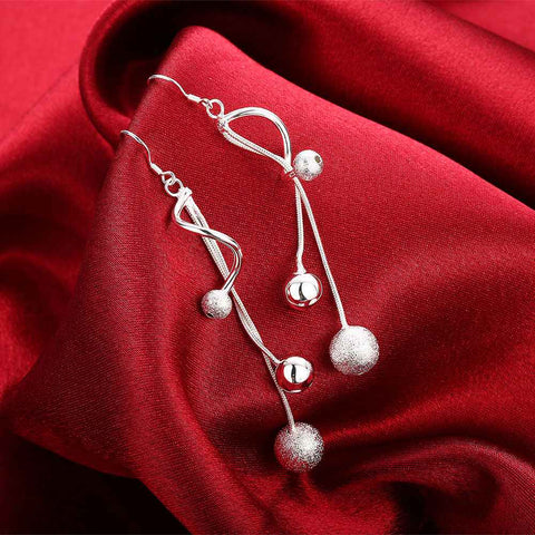 Image of Silver Twisted Drop Earrings