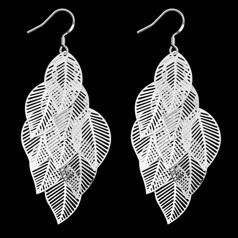 Image of Silver Plated Leave in Chandelier Earrings