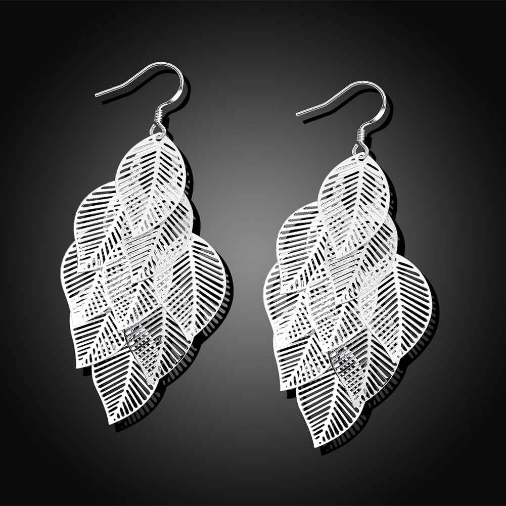 Silver Plated Leave in Chandelier Earrings