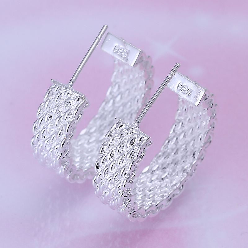 Silver Plated Woven Design Stud