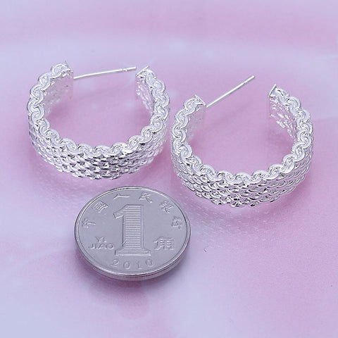 Image of Silver Plated Woven Design Stud