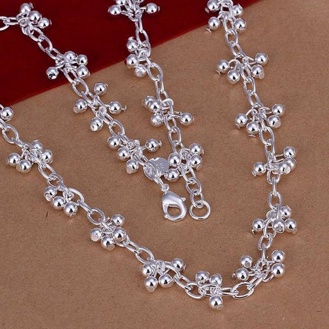 Free Shipping!!Wholesale silver plated Necklaces & Pendants,925 jewelry silver,Grapes Light Bead Necklace SMTN156