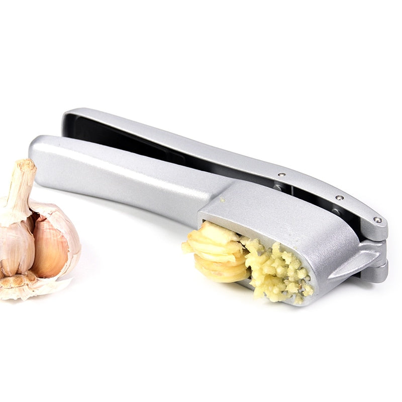 Garlic Press & Slicer 2 in 1 - Aluminium Garlic & Ginger Mincer and Slicer - with Slicing and Grinding - Kitchen Cooking Tools