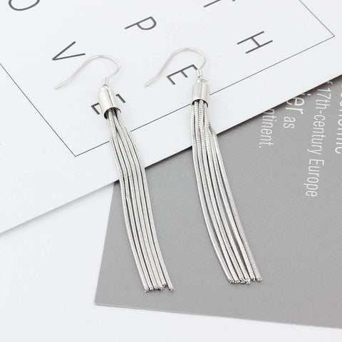 Image of 925 Sterling Silver Tassel Dangle Earrings