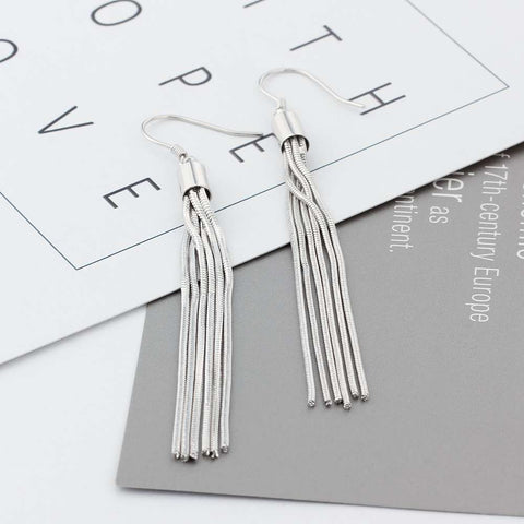 925 Sterling Silver Tassel Dangle Earrings