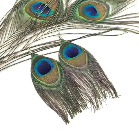 Image of Natural Peacock Feather Drop Earrings - Free + Shipping