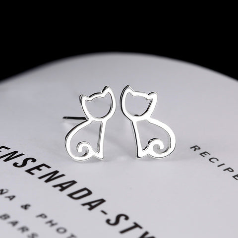 100% 925 Sterling Silver Cat Stud Earrings