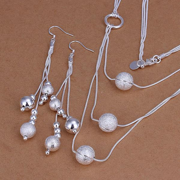 High Quality 925 Jewelry Silver Color Necklace Earring Jewelry Set Elegant Scrub Ball Pendant Multi Chain Necklaces Earrings