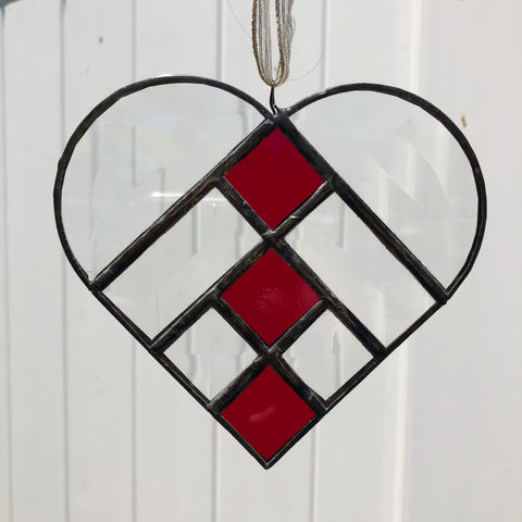 Loveable Beveled and Red Stained Glass Heart Sun Catcher