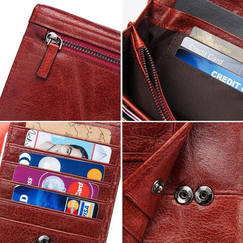 Image of Genuine Leather Women Clutch Wallet and Female Coin Purse Clamp For Card Holder wallet Wallets