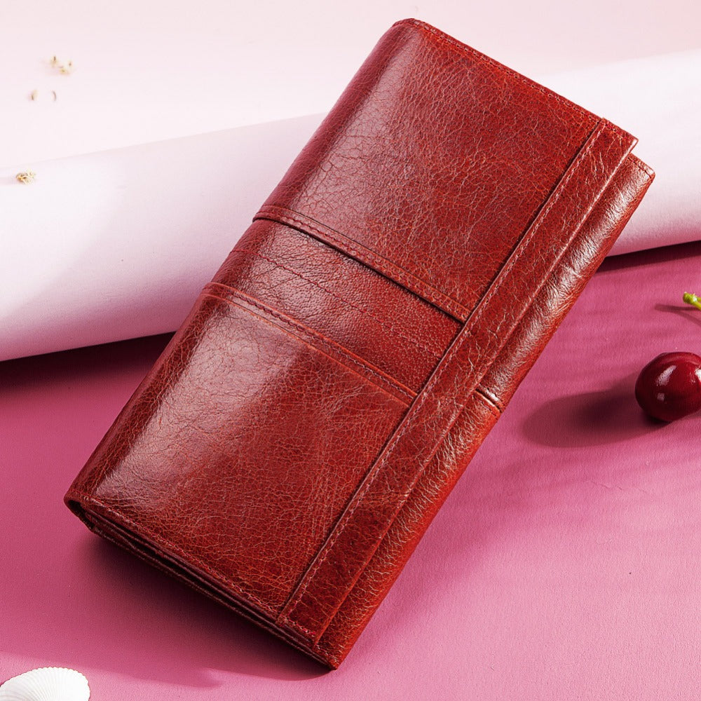 Genuine Leather Women Clutch Wallet and Female Coin Purse Clamp For Card Holder wallet Wallets