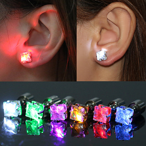 Image of LED Light Ear Studs Square Earrings - Free + Shipping