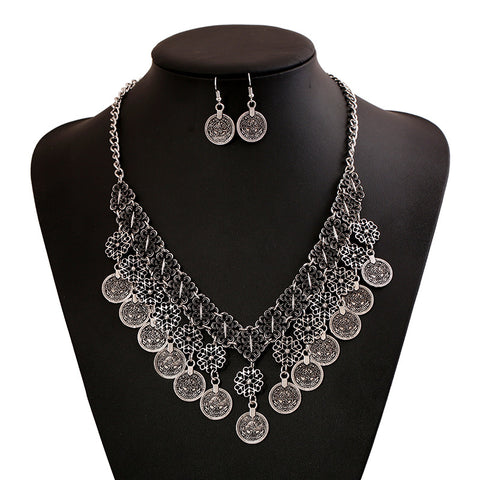 Image of Geometric Multilayer Tassel Necklace  and Earring Set