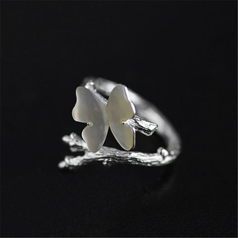 Image of Lotus Real 925 Sterling Silver Natural Original  Cute Butterfly on Branch Female Rings Bijoux