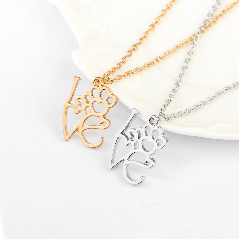 Love Dog Cat Paw Pendant Necklaces Hollow Heart Pet Foot Print Pet Lover