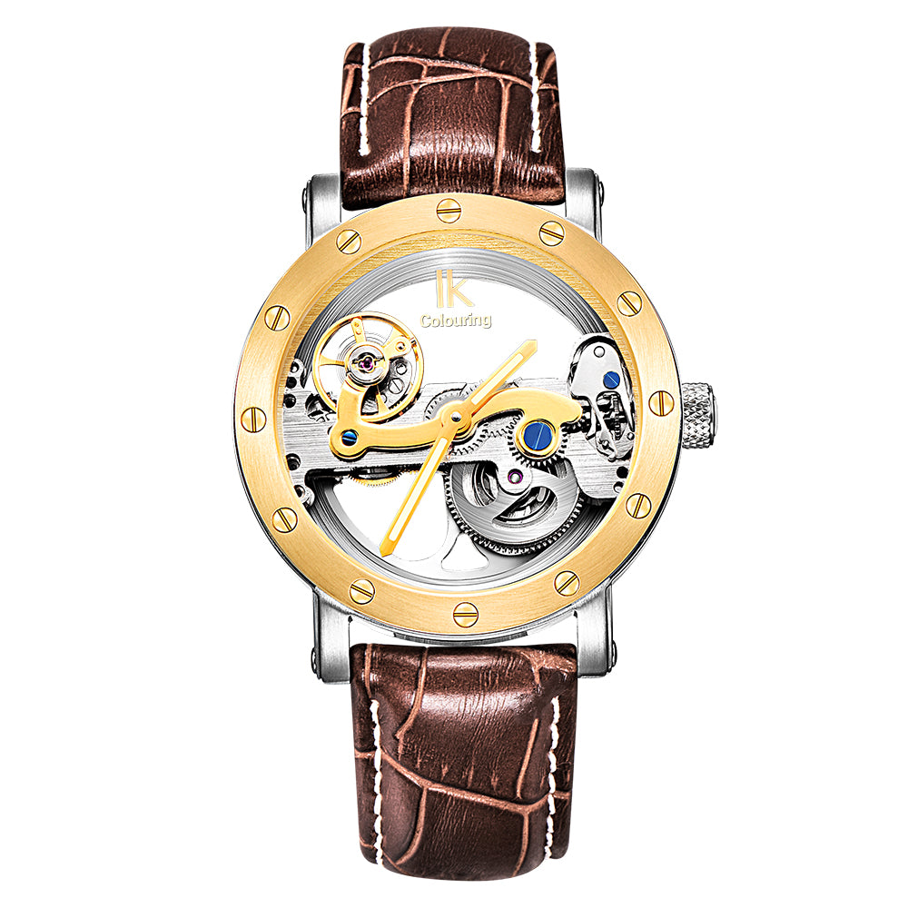 Luxury Brand IK  Leather Strap Transparent Dial Golden Case Mens Watches Automatic Mechanical