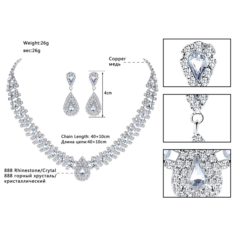 Crystal African Wedding Jewelry Sets Pink/Silver Color Teardrop Beads Bridal Choker Necklace Earrings