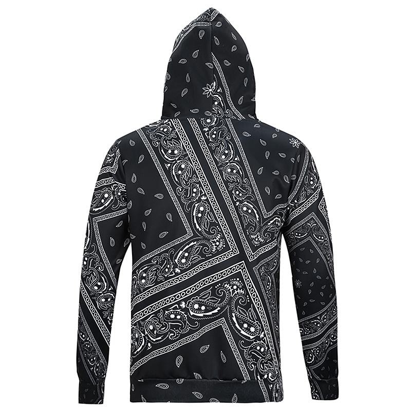 Bandana Sweatshirts Hooded Tops Print Cashew Flowers Casual lovely 3d Hoody Hoodies With Cap