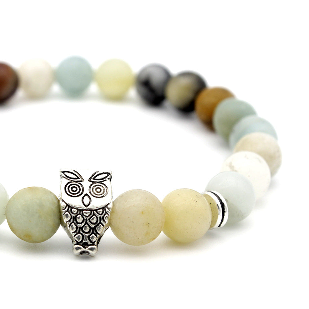 Antique Silver Animal Owl Head Bracelets Amazonite Stone Beads Bracelets