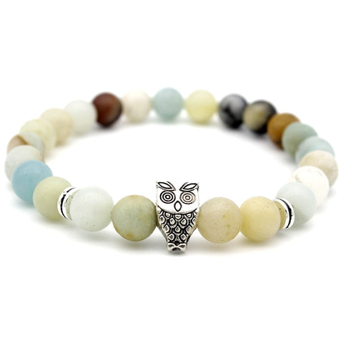 Image of Antique Silver Animal Owl Head Bracelets Amazonite Stone Beads Bracelets