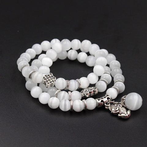 Image of Natural Opal Beads Bracelet for Women Brave Buddha Pendant Vintage