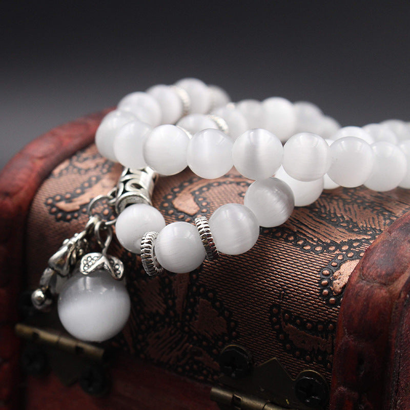 Natural Opal Beads Bracelet for Women Brave Buddha Pendant Vintage