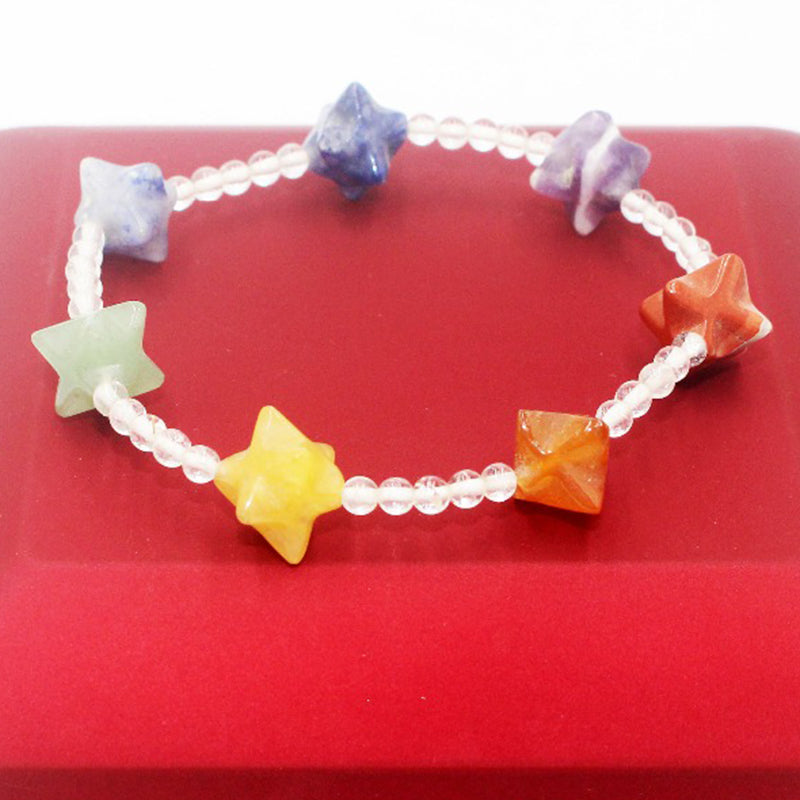 Rainbow of Love Natural stone Crystal Agates in Star shape Bracelet