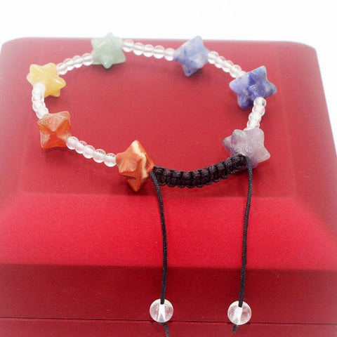 Image of Rainbow of Love Natural stone Crystal Agates in Star shape Bracelet