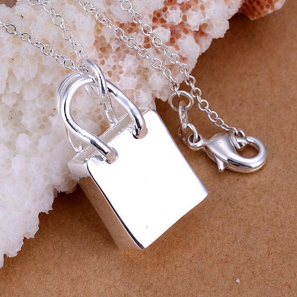 Silver Plated Handbag Charm Necklace