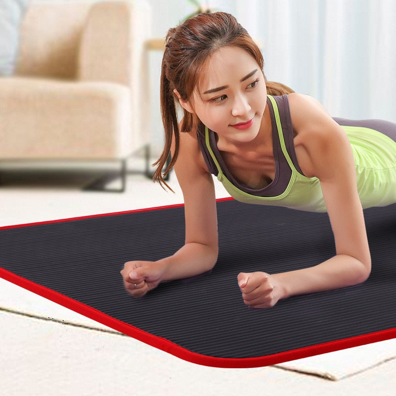 New 10mm Thickened Non slip 183cmX61cm Yoga Mat NBR Fitness Gym Mats Sports Cushion Gymnastic Pilates Pads With Yoga Bag & Strap Yoga Mats