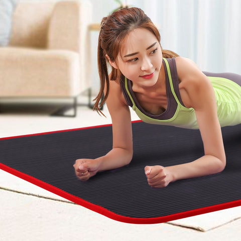 Image of New 10mm Thickened Non slip 183cmX61cm Yoga Mat NBR Fitness Gym Mats Sports Cushion Gymnastic Pilates Pads With Yoga Bag & Strap Yoga Mats