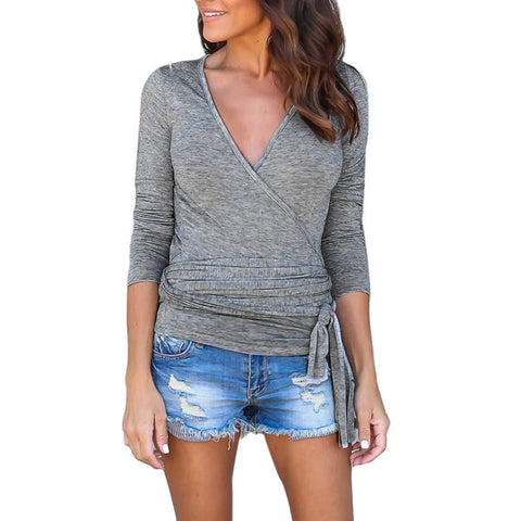 Image of New for Fall/Winter XS- XXL Size Long Sleeves V Neck Loose Bandage Top Sexy Blouse