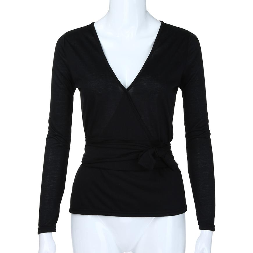 New for Fall/Winter XS- XXL Size Long Sleeves V Neck Loose Bandage Top Sexy Blouse