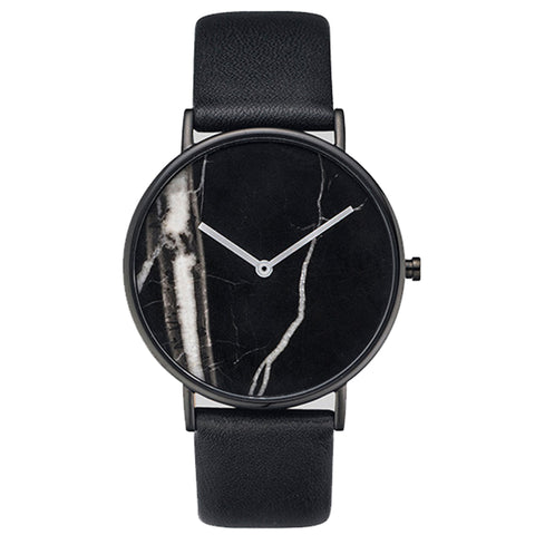 Marble Dial Women Simple  Minimal Leather Ladies Watch Minimalist