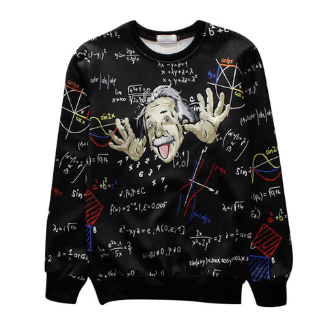 New Fashion Men/women's Pullover Math Science Einstein Causal 3d Hoodies Sweatshirts Print Crewneck Female 3d Sweats Hoody