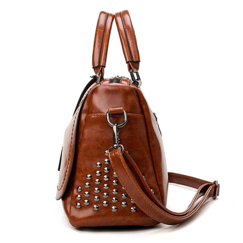 Image of Large Capacity Brand Oil Wax Leather Rivet Boston Bag High Quality Female Cross-body Tote Shoulder Bag|Shoulder Bags