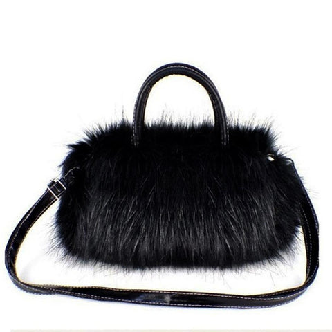Image of Faux Rabbit Fur bags Small Messenger Bag for Women Cross body Shoulder Strap Bag Winter