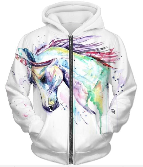 Unicorn 3D printed Hoodies Jacket hoodie fleece high quality